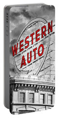 Western Auto Sign Downtown Kansas City B W Portable Battery Charger