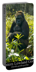 Western Lowland Gorilla Sitting On A Tree Stump Portable Battery Charger
