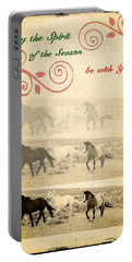 Western Themed Christmas Card Wyoming Spirit Portable Battery Charger