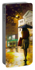 Portable Battery Charger featuring the painting Wet Night by Anthony Mwangi