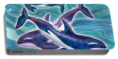Portable Battery Charger featuring the mixed media Whale Whimsey by Teresa Ascone