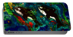 Whales At Sea - Orcas - Abstract Ink Painting Portable Battery Charger