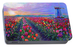 Tulip Fields, What Dreams May Come Portable Battery Charger by Jane Small