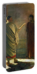 What Is Truth    Christ And Pilate Portable Battery Charger