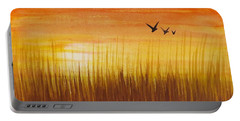 Wheatfield At Sunset Portable Battery Charger by Darren Robinson