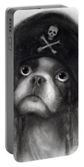 Whimsical Funny French Bulldog Pirate  Portable Battery Charger by Svetlana Novikova
