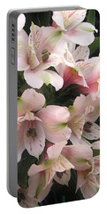 White And Pink Peruvian Lilies Portable Battery Charger by Diane Alexander