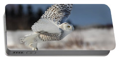 White Angel - Snowy Owl In Flight Portable Battery Charger