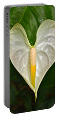 White Anthurium Heart Portable Battery Charger by Venetia Featherstone-Witty