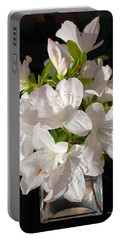 White Azalea Bouquet In Glass Vase Portable Battery Charger by Connie Fox