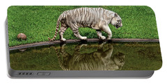 White Tiger Reflections Hawaii Portable Battery Charger by Venetia Featherstone-Witty