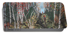 Portable Battery Charger featuring the painting White Birch Trail Ride by Jeffrey Koss