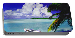 White Boat On A Tropical Island Portable Battery Charger by David  Van Hulst