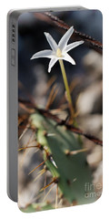 Portable Battery Charger featuring the photograph White Cactus Flower by Erika Weber