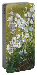 White Campanulas Portable Battery Charger