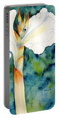 White Canna Flower Portable Battery Charger by Carlin Blahnik
