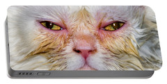 Scary White Cat Portable Battery Charger
