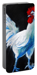 White Chicken Portable Battery Charger by Mona Edulesco