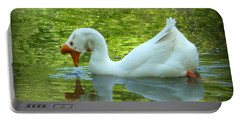 White Chinese Goose Curtsy  Portable Battery Charger