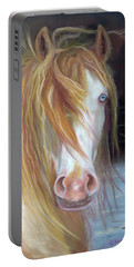 White Chocolate Stallion Portable Battery Charger by Karen Kennedy Chatham