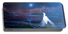 White Crane Dancing In The Light Of The Moon Portable Battery Charger