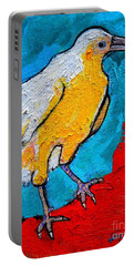 Portable Battery Charger featuring the painting White Crow by Ana Maria Edulescu