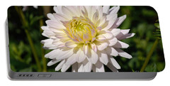 White Dahlia Flower Portable Battery Charger