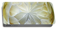 White Dahlia Orb Portable Battery Charger