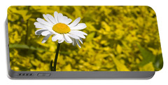 White Daisy In Yellow Garden Portable Battery Charger