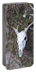 White Deer Skull In Grass Portable Battery Charger