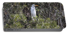 White Egret In The Swamp Portable Battery Charger by Christiane Schulze Art And Photography