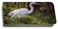 White Egret On The Hunt Portable Battery Charger by Marvin Spates