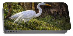 White Egret On The Hunt Portable Battery Charger