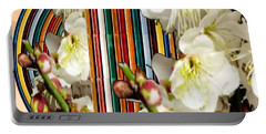 White Flower Medley Colorful Rainbow Stripes On The Backdrop Artist Navinjoshi  Portable Battery Charger