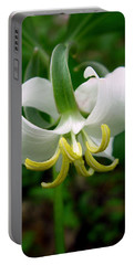 White Flowering Rose Trillium Portable Battery Charger