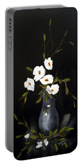 White Flowers In A Vase Portable Battery Charger by Dorothy Maier
