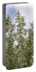 White Flowers On Branches Portable Battery Charger