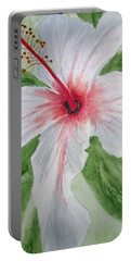 White Hibiscus Flower Portable Battery Charger