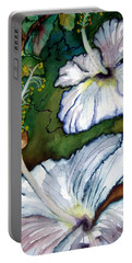 Portable Battery Charger featuring the painting White Hibiscus by Lil Taylor