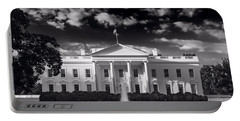 White House Sunrise B W Portable Battery Charger by Steve Gadomski