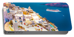 White Houses Of Santorini Portable Battery Charger
