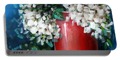 White Hydrangeas Portable Battery Charger