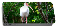 White Ibis Portable Battery Charger by Debra Forand