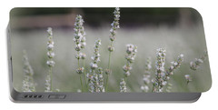 White Lavender Portable Battery Charger by Lynn Sprowl