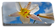 White Lily Flower Against Blue Sky Art Prints Portable Battery Charger