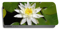 White Lotus 1 Portable Battery Charger by Ellen Henneke