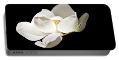 White Magnolia  Portable Battery Charger by Debra Forand