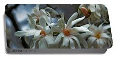White Magnolia Portable Battery Charger by Rowana Ray