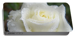 Portable Battery Charger featuring the photograph White Mini Rose With Raindrops by Sue Andrus
