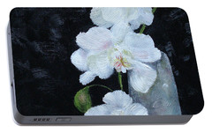 Portable Battery Charger featuring the painting White Orchid by Judith Rhue